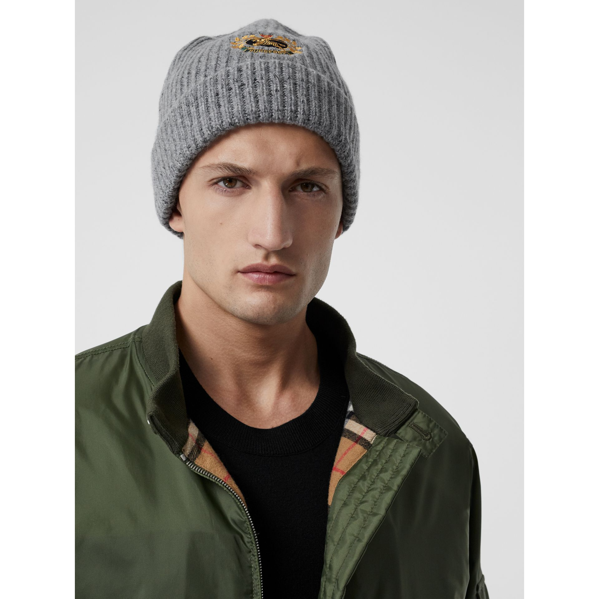 Embroidered Archive Logo Wool Blend Beanie in Grey Melange | Burberry - gallery image 3