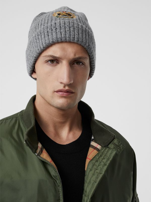 Embroidered Archive Logo Wool Blend Beanie in Grey Melange | Burberry - cell image 3