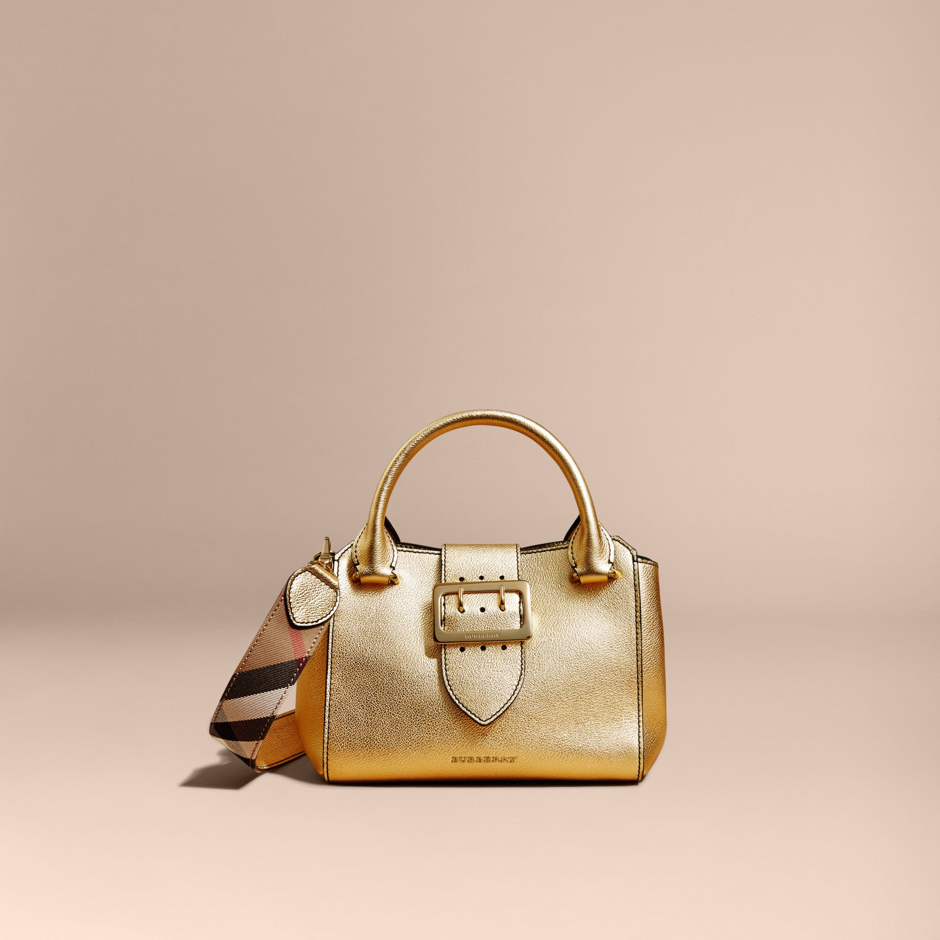 Gold The Small Buckle Tote in Metallic Leather - gallery image 8