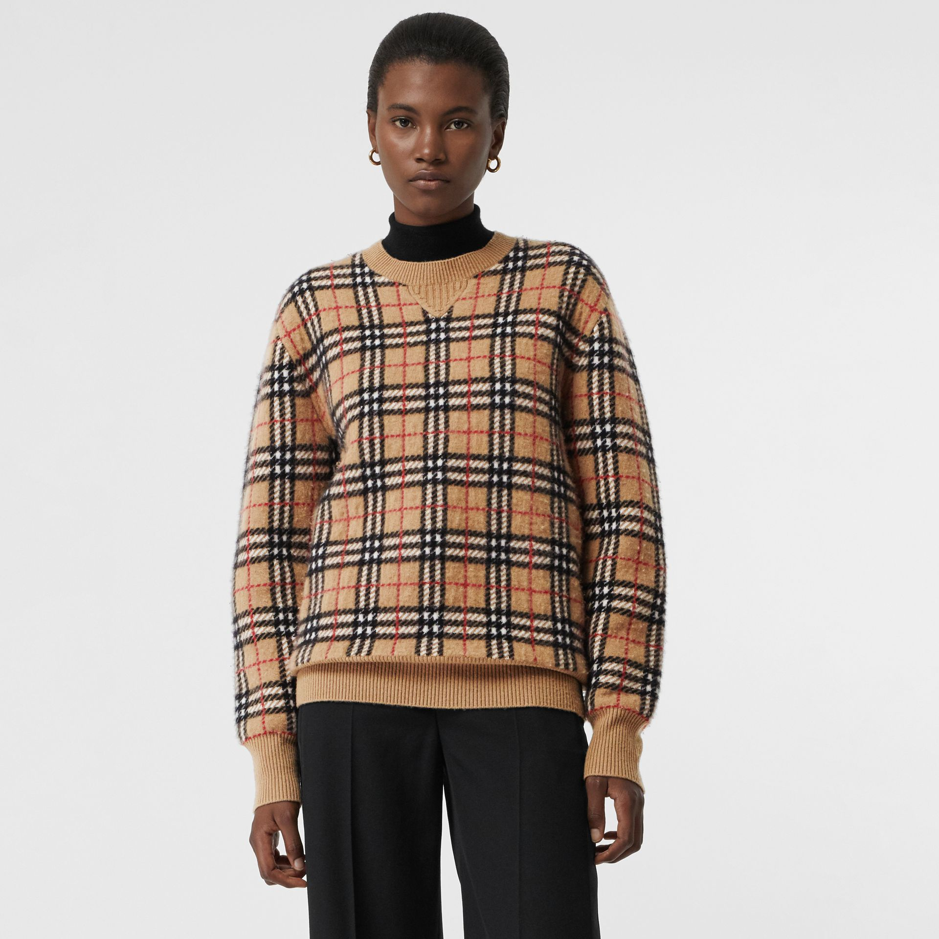 Vintage Check Cashmere Jacquard Sweater in Camel - Women | Burberry - gallery image 4