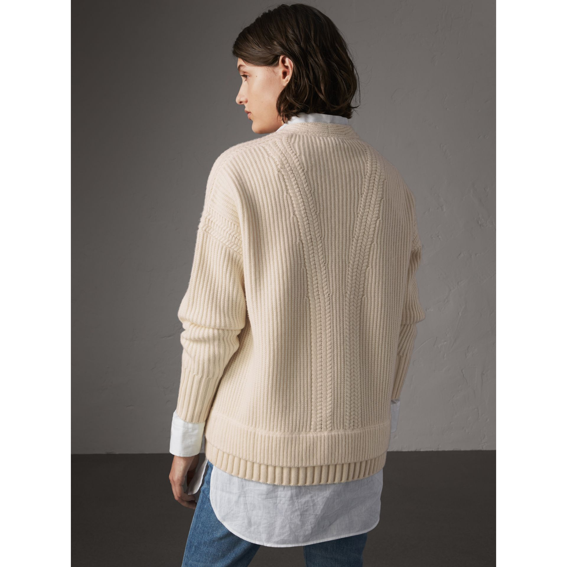 Cut-out V-neck Wool Cashmere Sweater in Natural White - Women | Burberry - gallery image 3