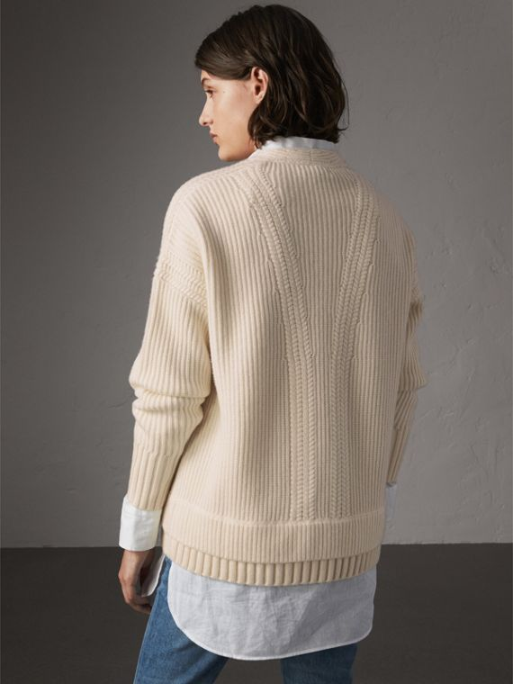 Cut-out V-neck Wool Cashmere Sweater in Natural White - Women | Burberry - cell image 2
