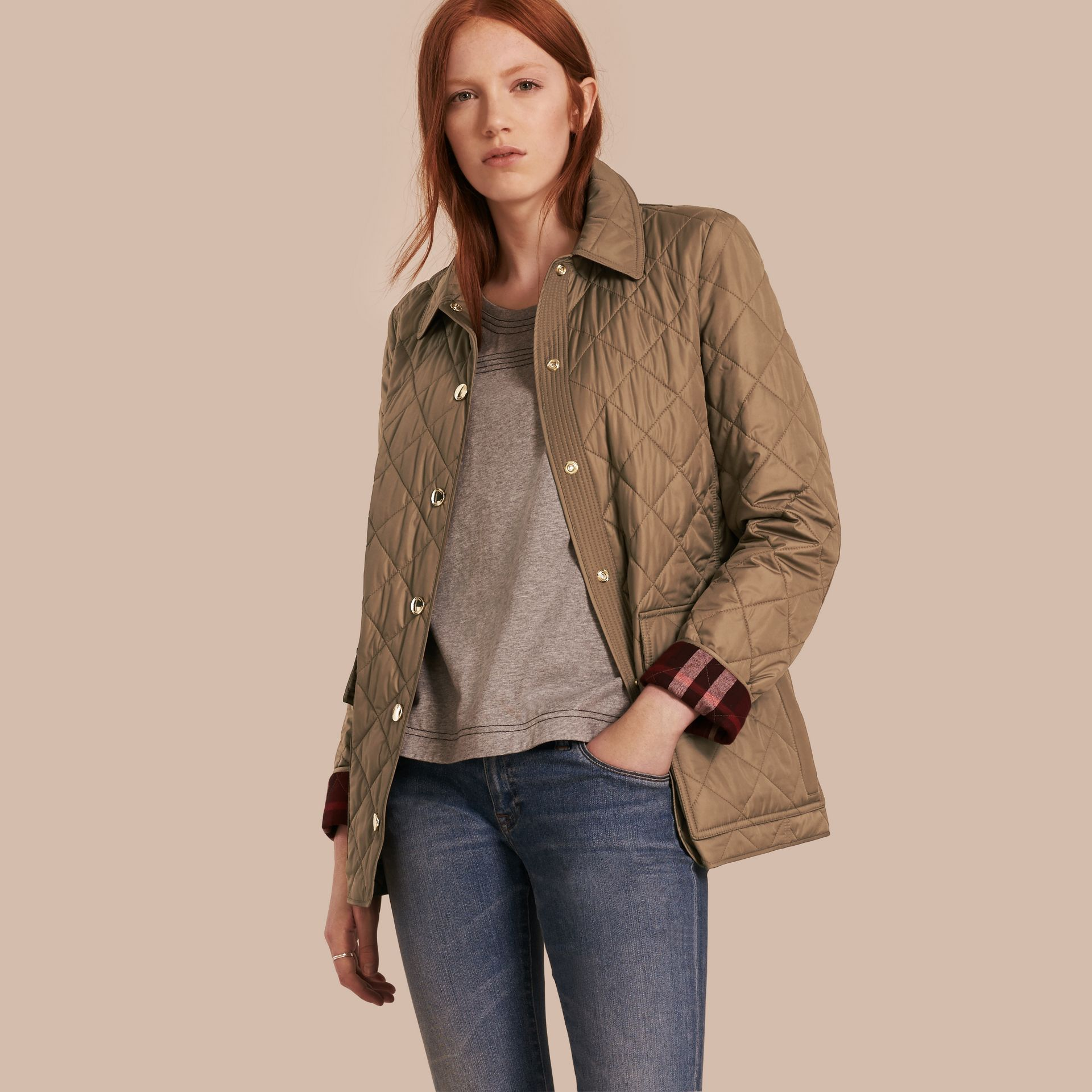 Mid taupe Check Lined Diamond Quilted Jacket Mid Taupe - gallery image 1