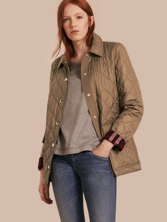 Check Lined Diamond Quilted Jacket Mid Taupe