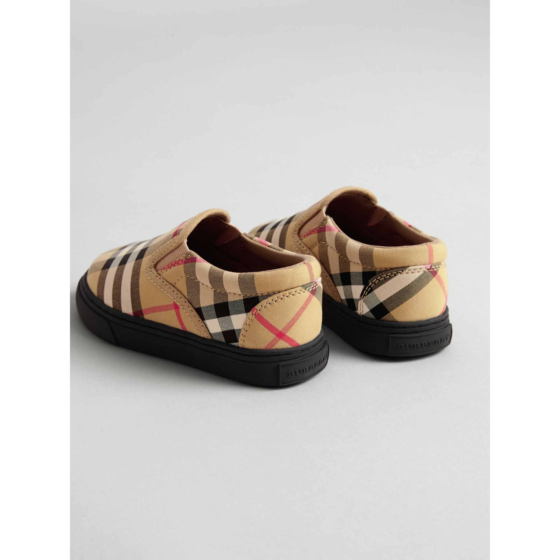 Vintage Check and Leather Slip-on Sneakers in Antique Yellow/black - Children | Burberry United Kingdom - gallery image 2
