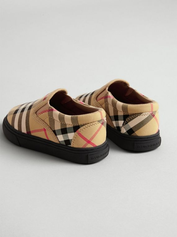 Vintage Check and Leather Slip-on Sneakers in Antique Yellow/black | Burberry Canada - cell image 2
