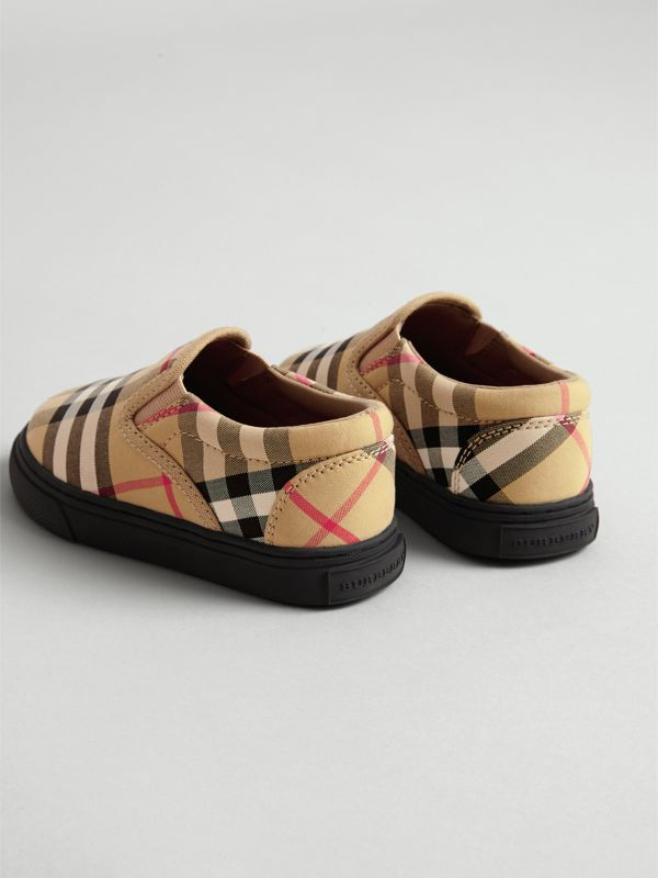 Vintage Check and Leather Slip-on Sneakers in Antique Yellow/black - Children | Burberry United Kingdom - cell image 2