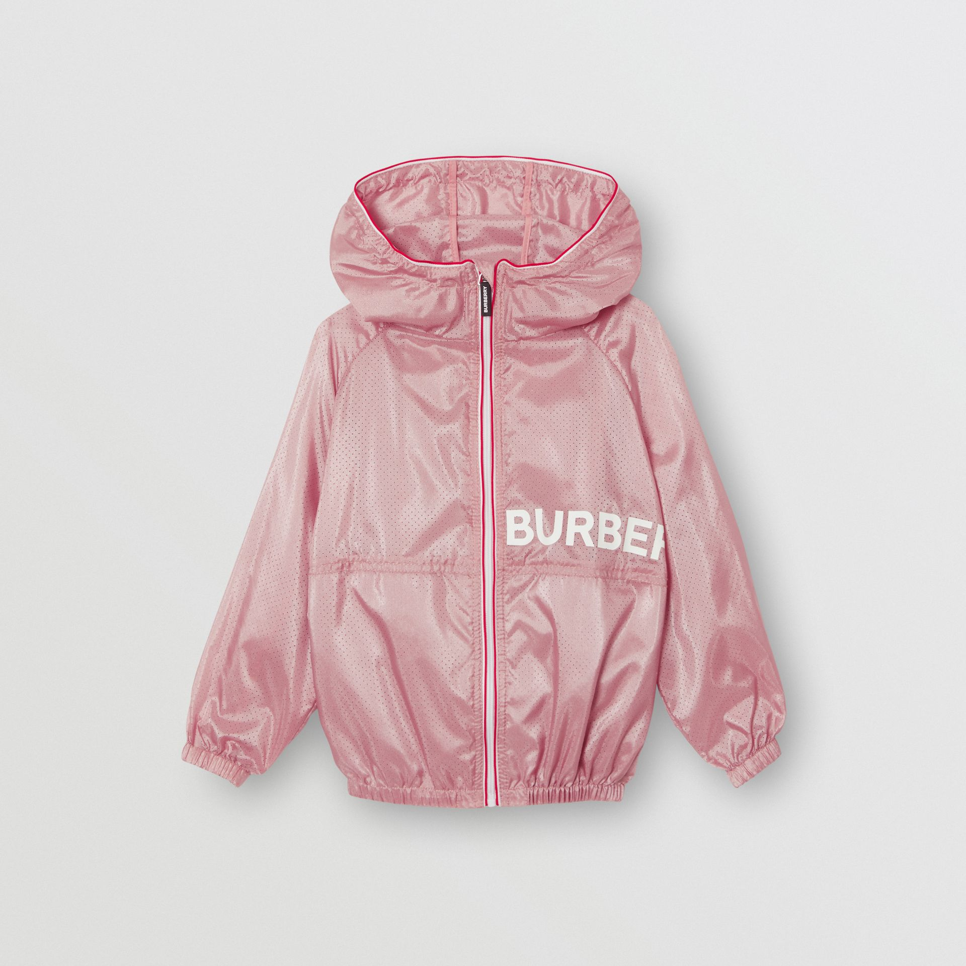 Logo Print Perforated Hooded Jacket in Pearl Rose | Burberry - gallery image 0