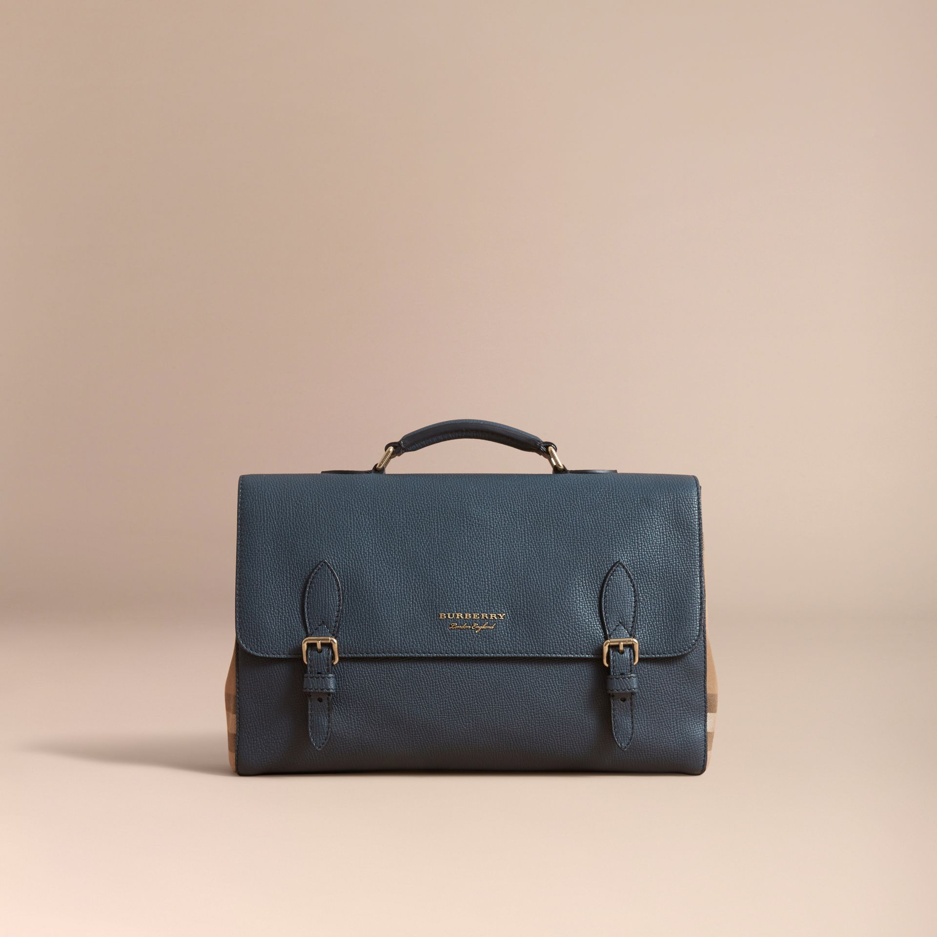 Leather and House Check Satchel in Storm Blue - Men | Burberry - gallery image 8