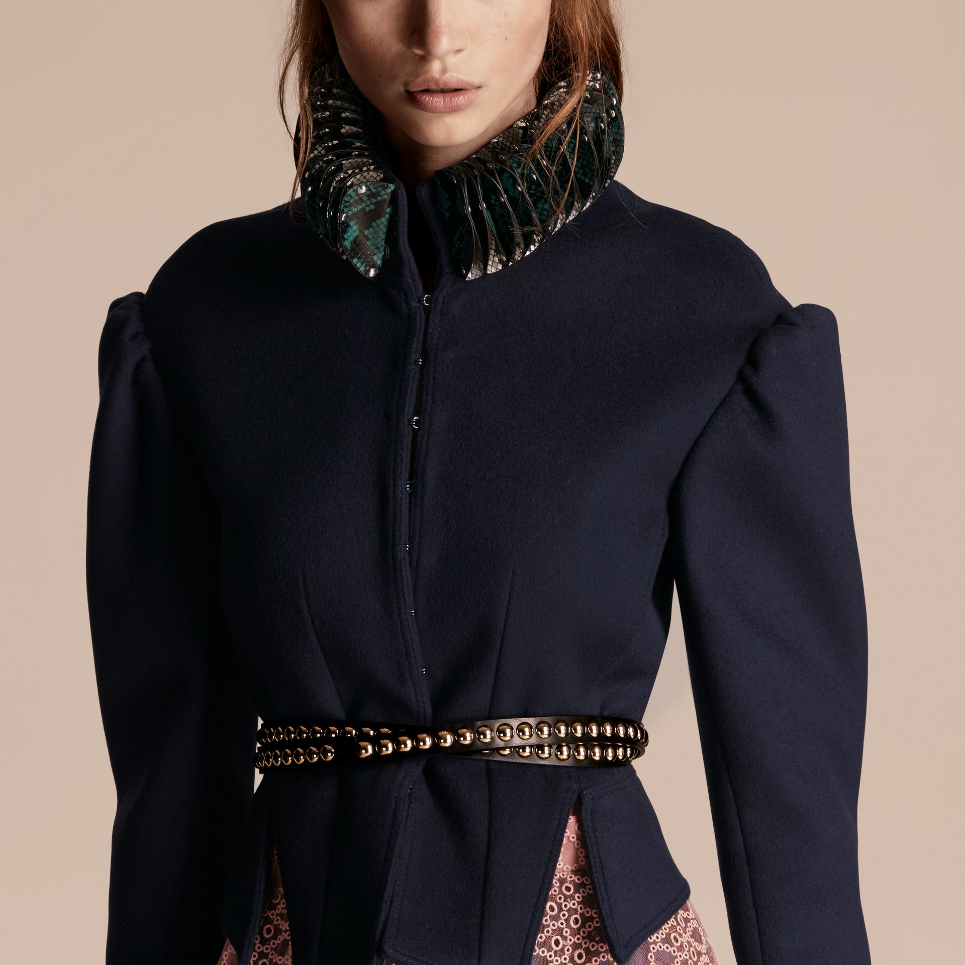 Dark navy Puff Sleeve Wool Jacket with Snakeskin Collar - gallery image 5