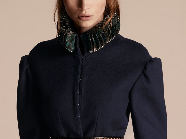 Dark navy Puff Sleeve Wool Jacket with Snakeskin Collar - cell image 4