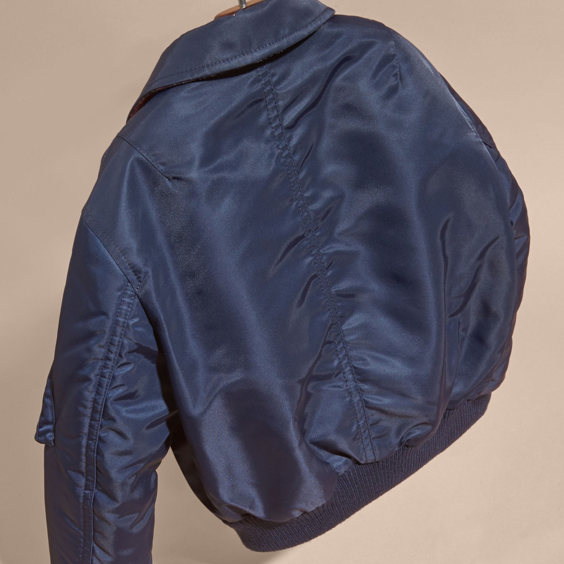 Nylon and Check Wool Cashmere Bomber Jacket - gallery image 4