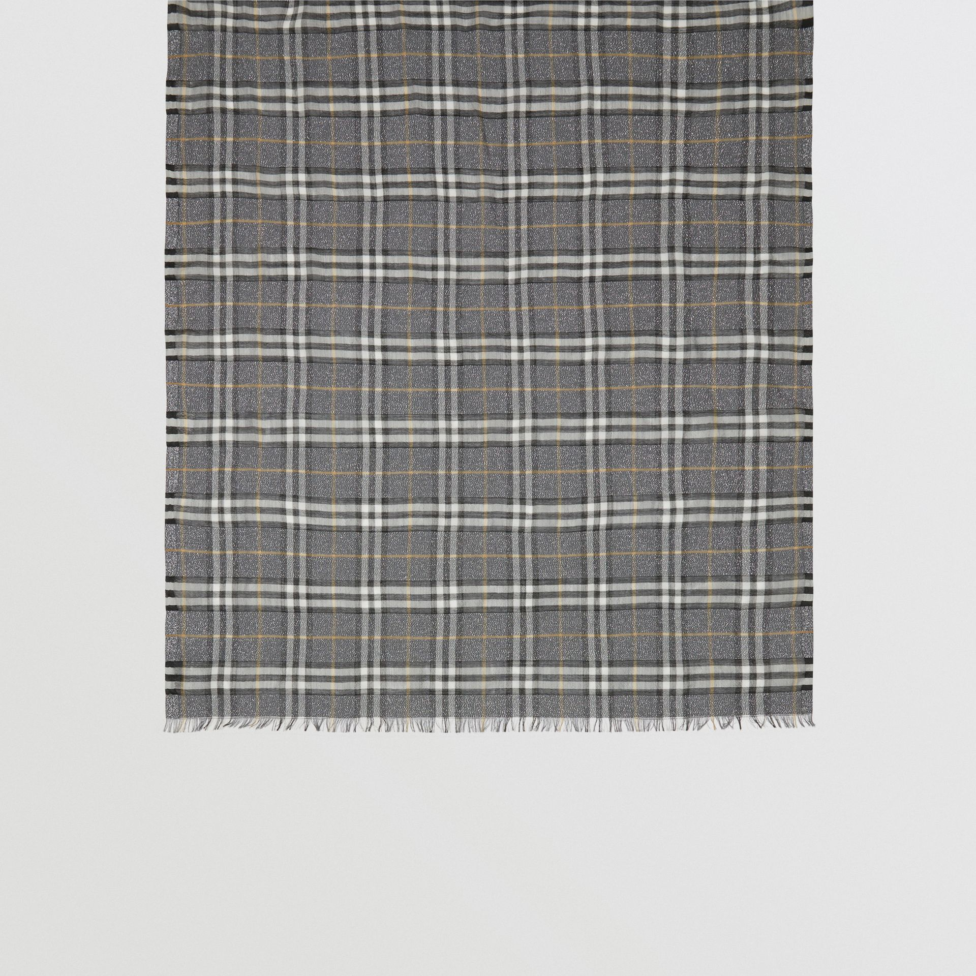 Metallic Vintage Check Wool Silk Blend Scarf in Pewter Grey | Burberry United Kingdom - gallery image 3