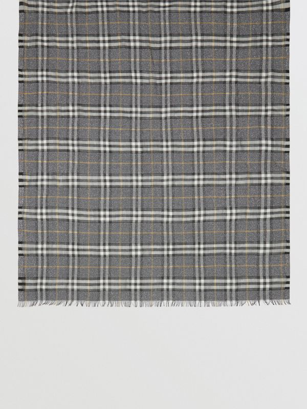 Metallic Vintage Check Wool Silk Blend Scarf in Pewter Grey | Burberry United Kingdom - cell image 3