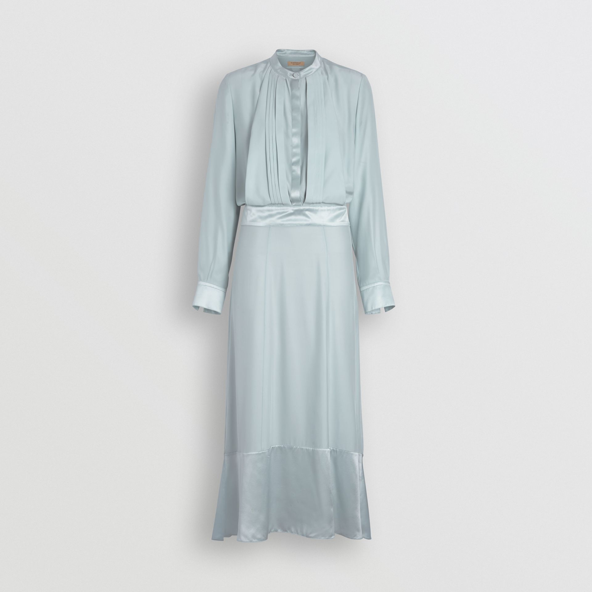 Silk Satin Shirt Dress in Pale Blue - Women | Burberry - gallery image 3