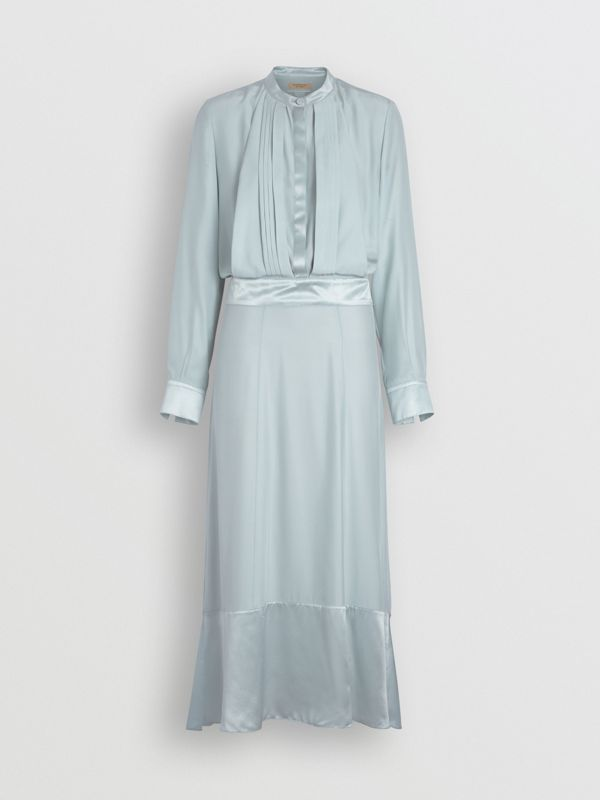 Silk Satin Shirt Dress in Pale Blue - Women | Burberry - cell image 3