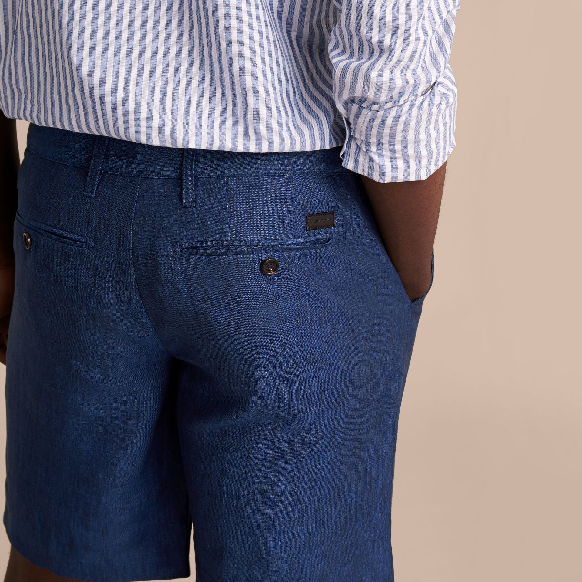 Lightweight Linen Shorts in Steel Blue - Men | Burberry - gallery image 5