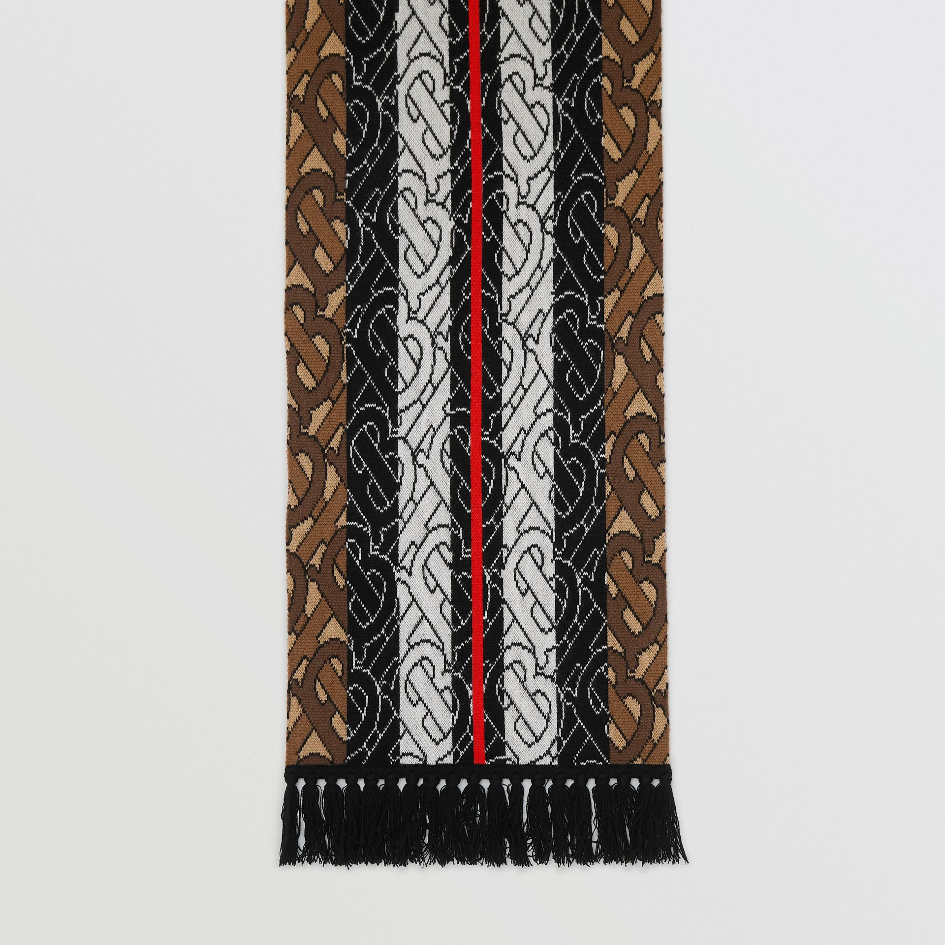 Monogram Stripe Cashmere Scarf in Brown | Burberry Australia - gallery image 4