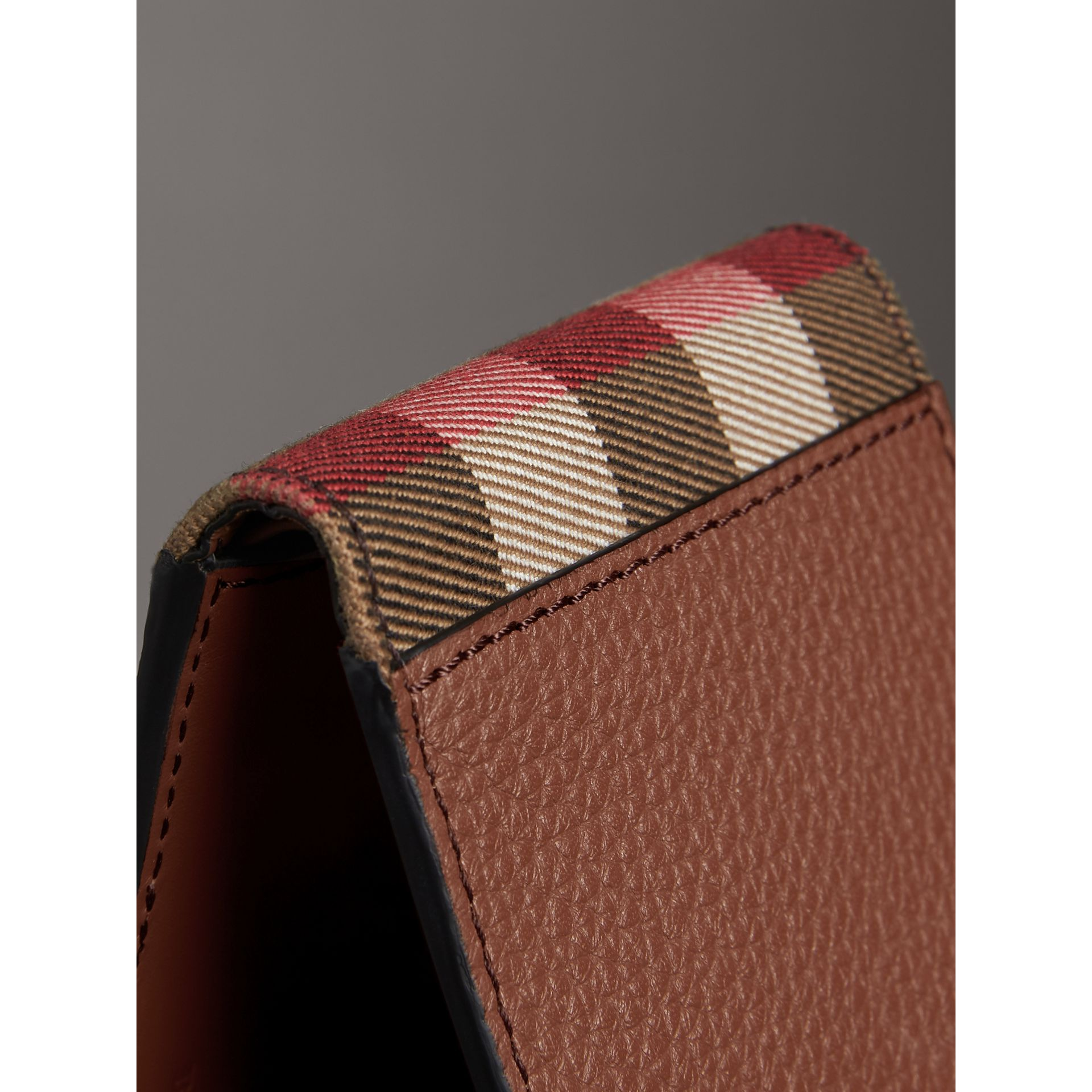 Grainy Leather and House Check Bifold Wallet in Chestnut Brown - Men | Burberry United States - gallery image 1