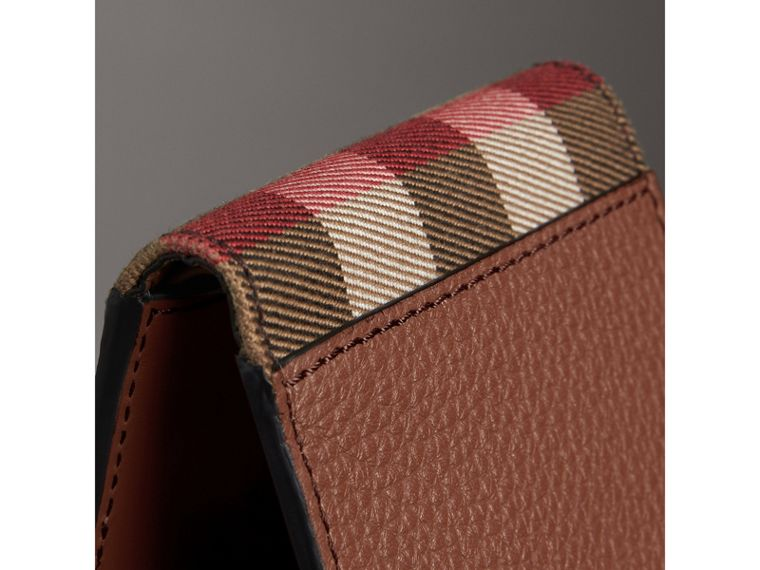 Grainy Leather and House Check Bifold Wallet in Chestnut Brown - Men | Burberry United States - cell image 1