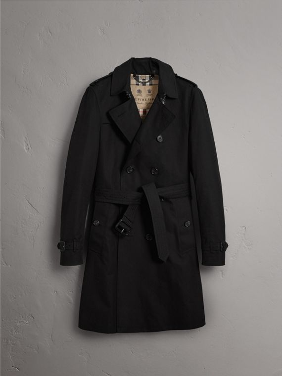 The Chelsea – Long Heritage Trench Coat in Black - Men | Burberry - cell image 3
