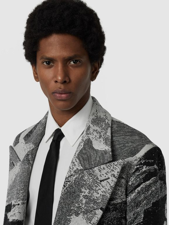 Dreamscape Wool Jacquard Double-breasted Coat in Natural White - Men | Burberry - cell image 1