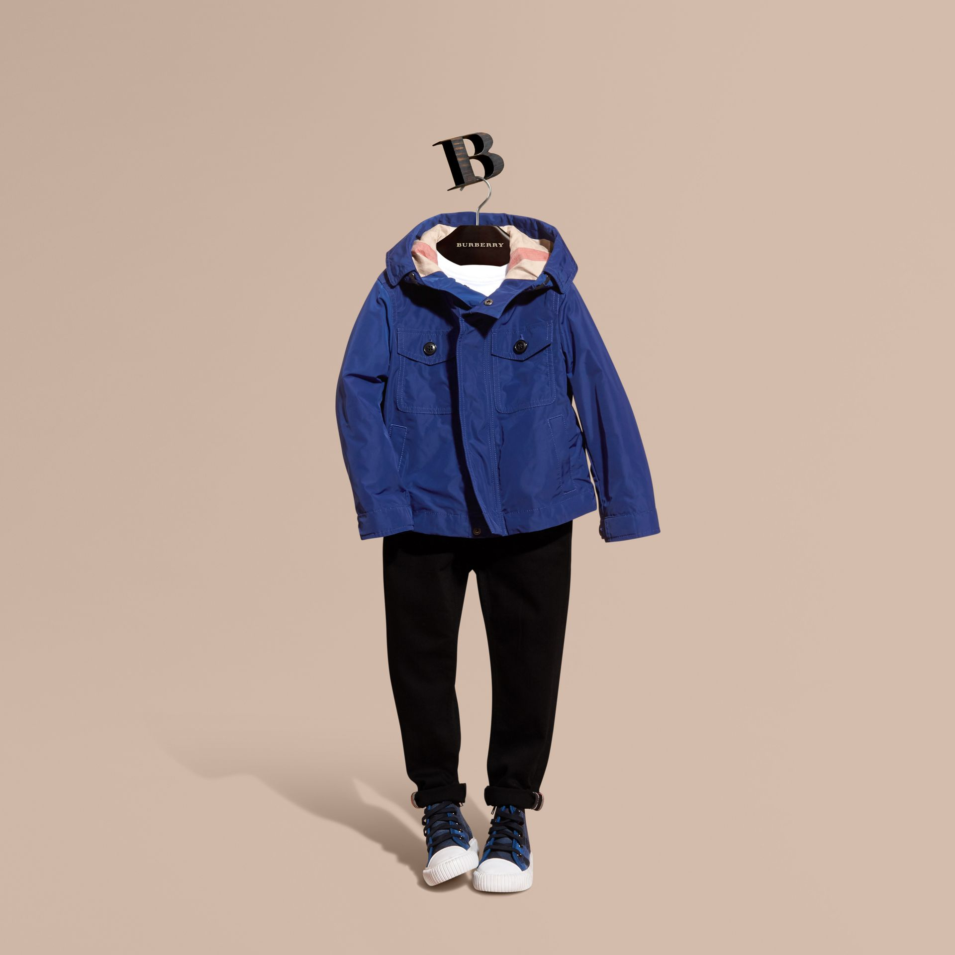Bright lapis Hooded Packaway Technical Jacket Bright Lapis - gallery image 1