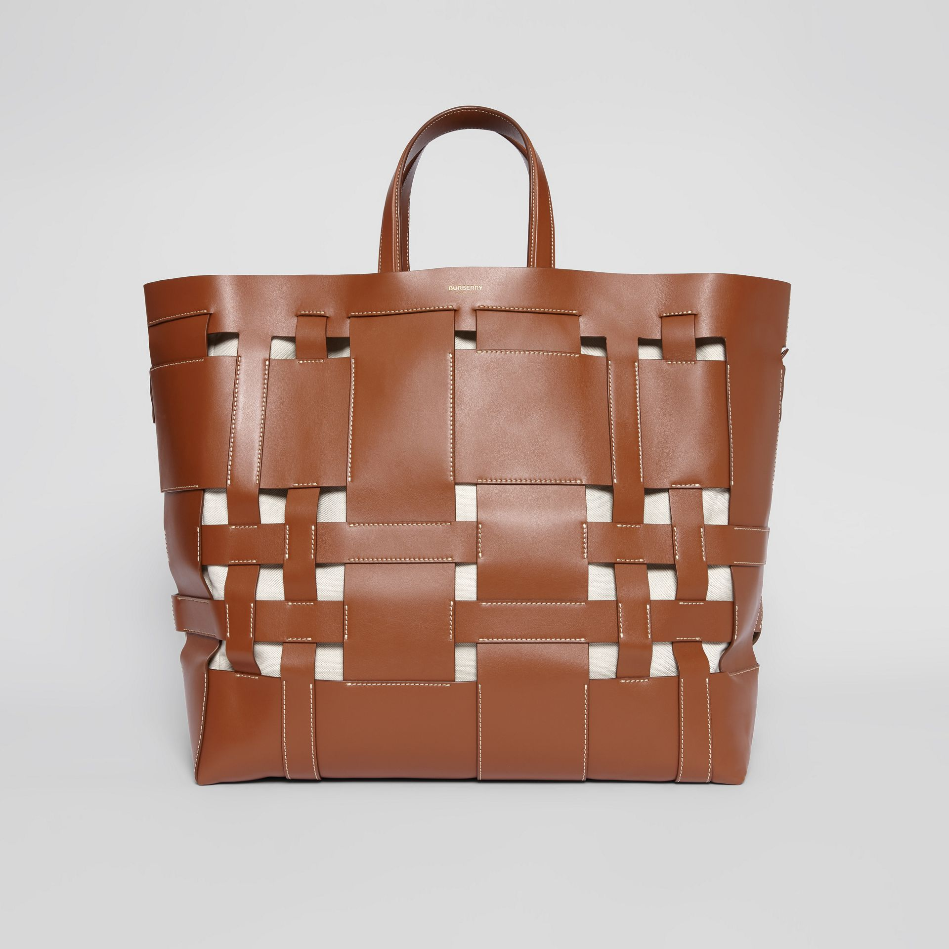 Large Leather Foster Tote in Malt Brown - Women | Burberry - gallery image 0