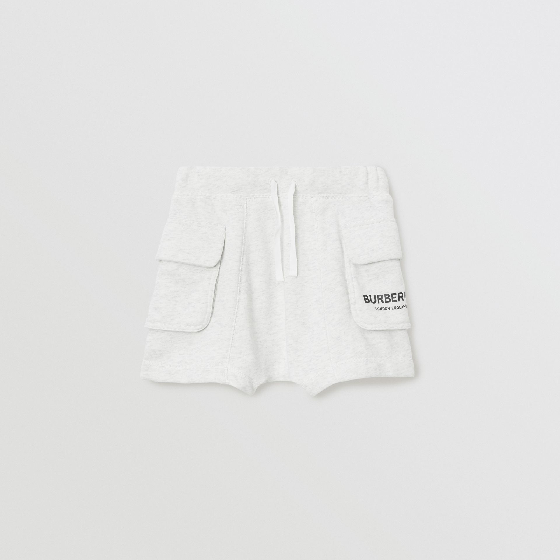 Logo Print Cotton Drawcord Shorts in White Melange | Burberry - gallery image 0