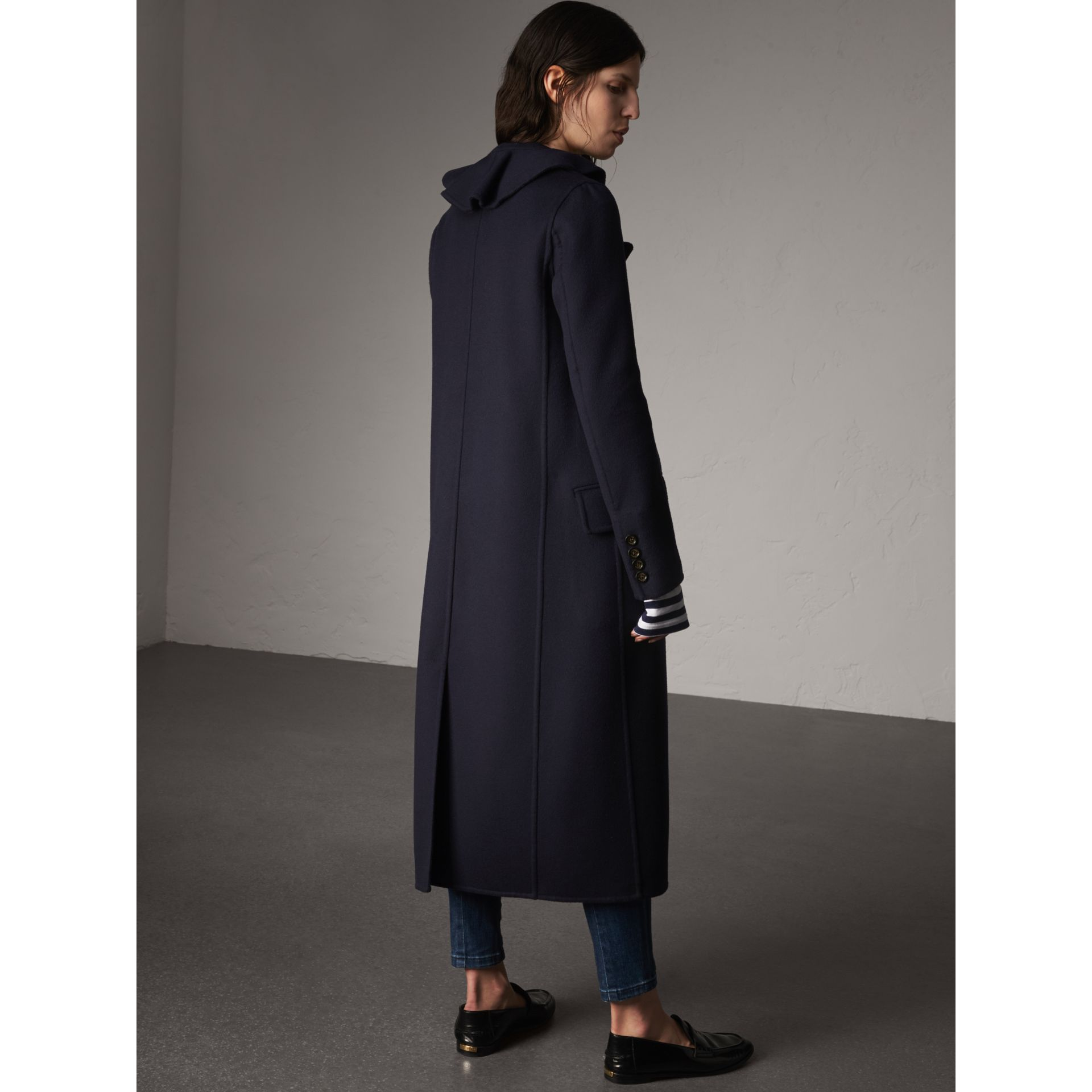 Ruffled Collar Wool Cashmere Coat in Navy - Women | Burberry Canada - gallery image 3