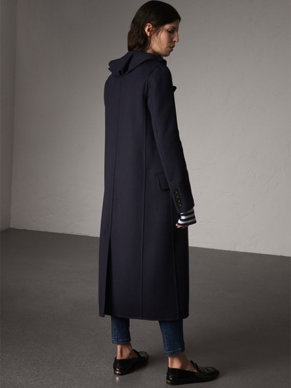 Ruffled Collar Wool Cashmere Coat in Navy - Women | Burberry United Kingdom - cell image 2