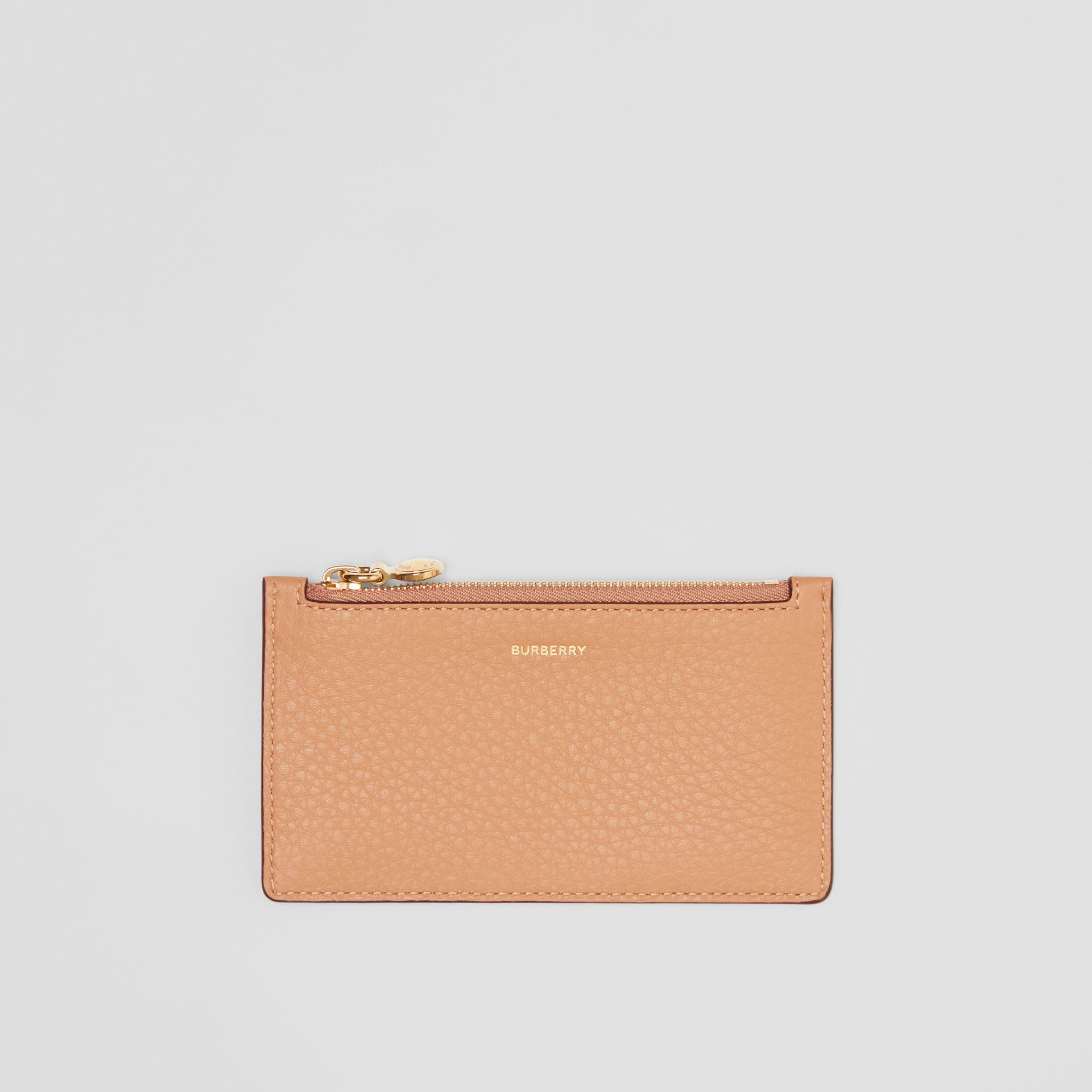 Leather Zip Card Case in Light Camel | Burberry Hong Kong S.A.R - gallery image 0