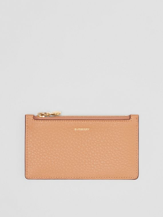Leather Zip Card Case in Light Camel