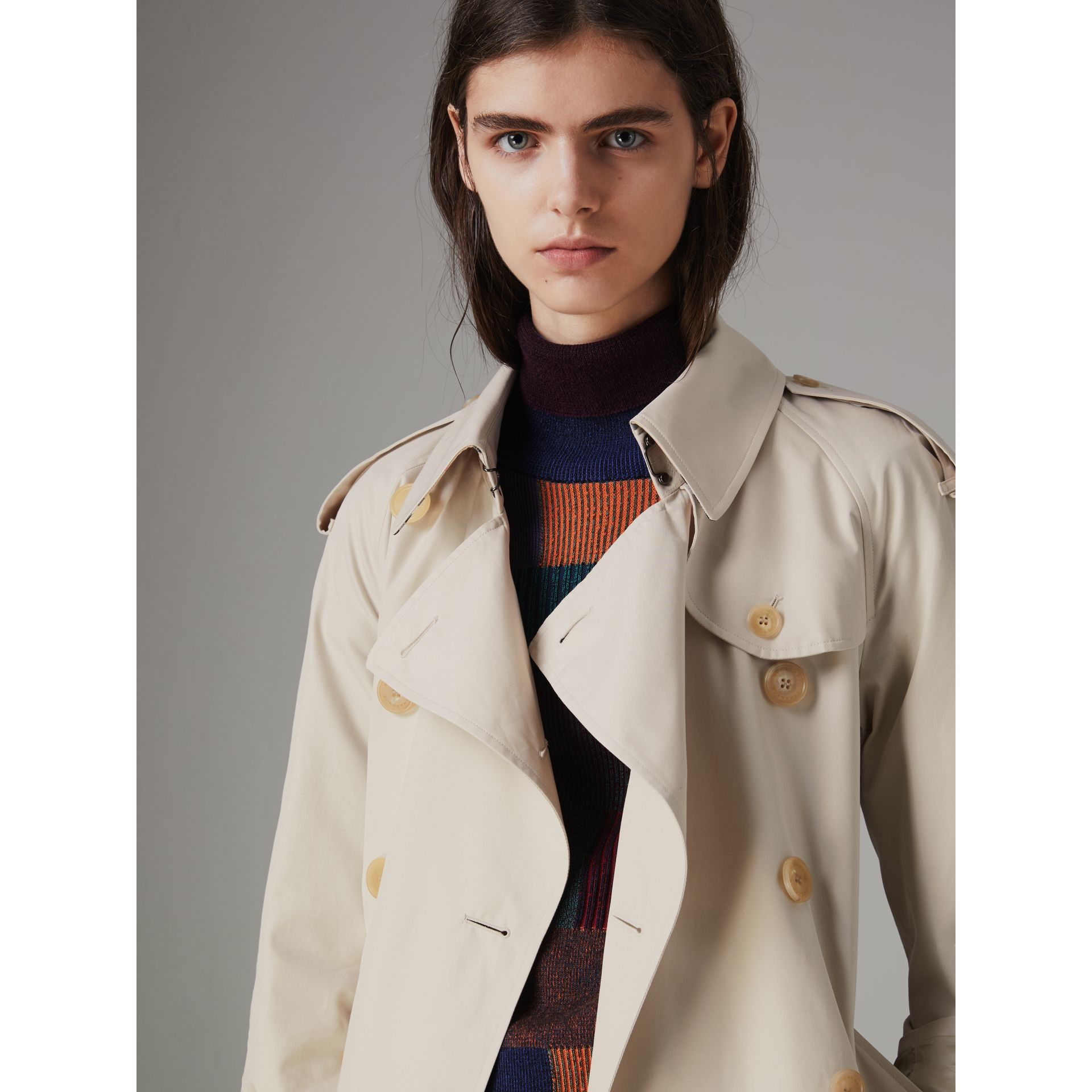 Heritage Stripe Cotton Gabardine Trench Coat in Stone - Women | Burberry - gallery image 4