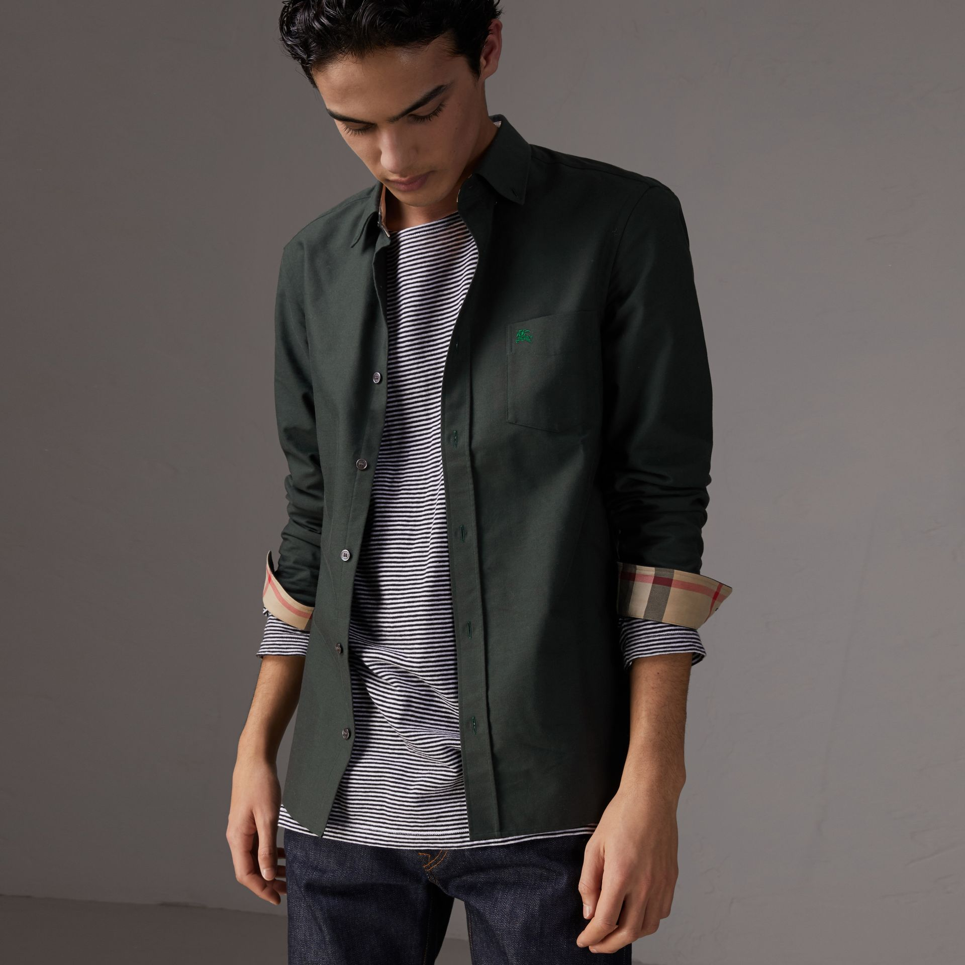 Check Detail Cotton Oxford Shirt in Dark Forest Green - Men | Burberry Hong Kong - gallery image 0