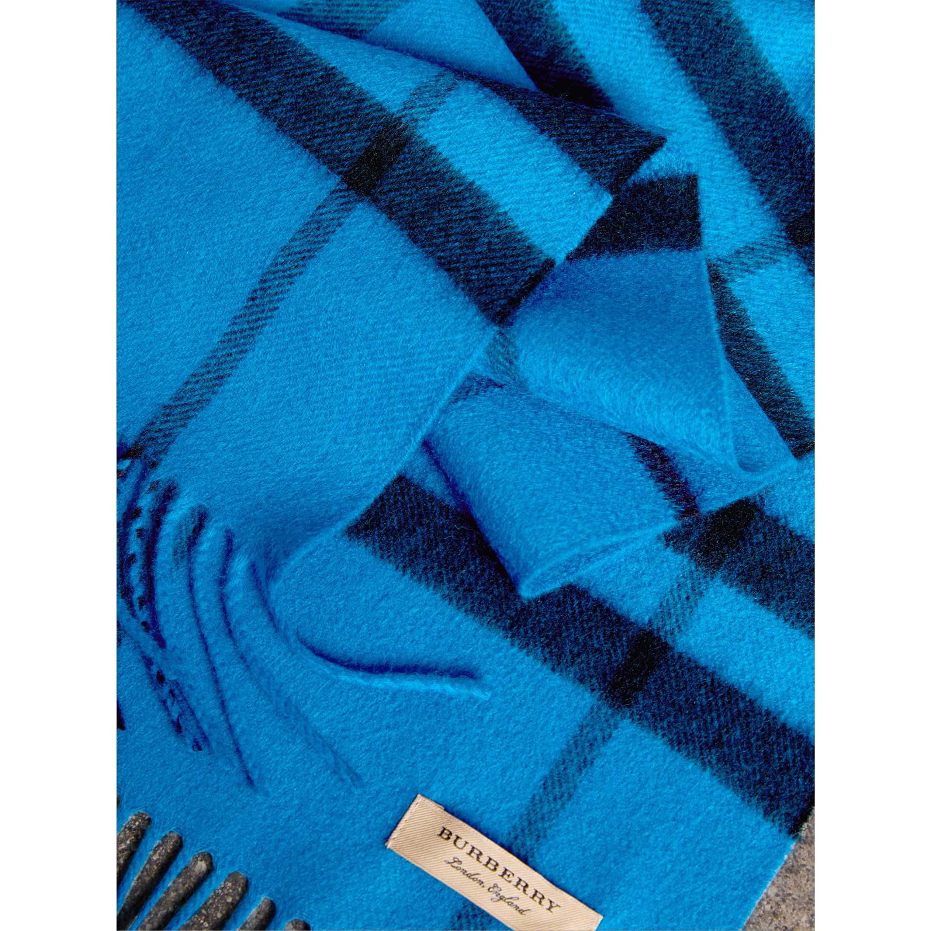 Overdyed Exploded Check Cashmere Scarf in Bright Blue | Burberry - gallery image 1