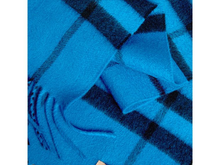 Overdyed Exploded Check Cashmere Scarf in Bright Blue | Burberry Hong Kong - cell image 1