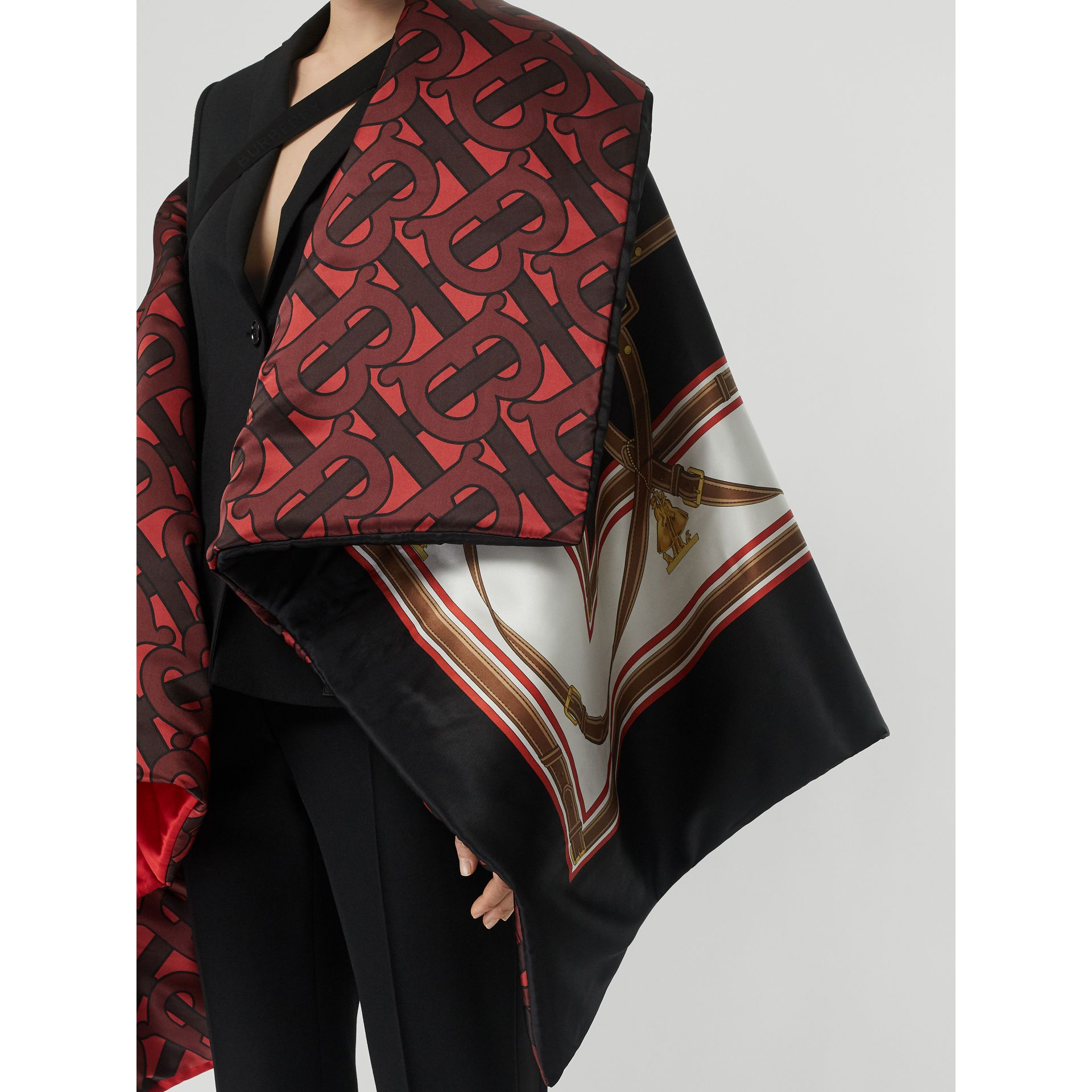 Archive Scarf Print Silk Satin Oversized Puffer Cape in Crimson - Women | Burberry - gallery image 5