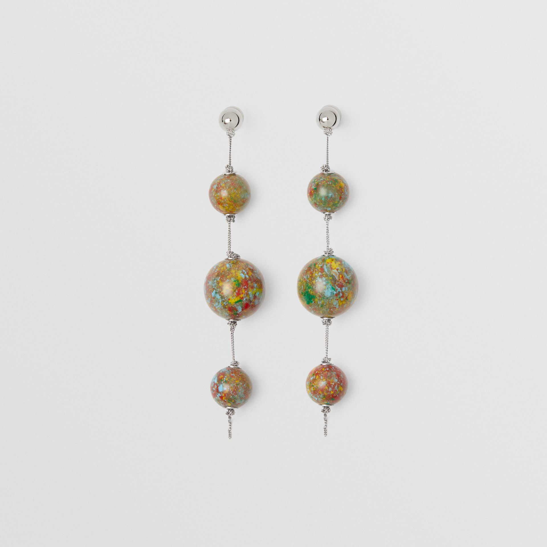 Marbled Resin Palladium-plated Drop Earrings in Palladio/confetti - Women | Burberry - gallery image 0