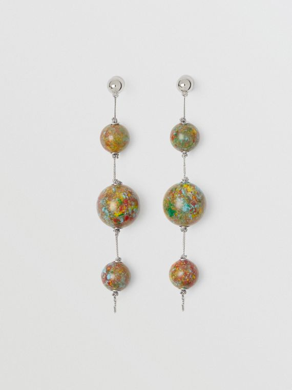 Marbled Resin Palladium-plated Drop Earrings in Palladio/confetti