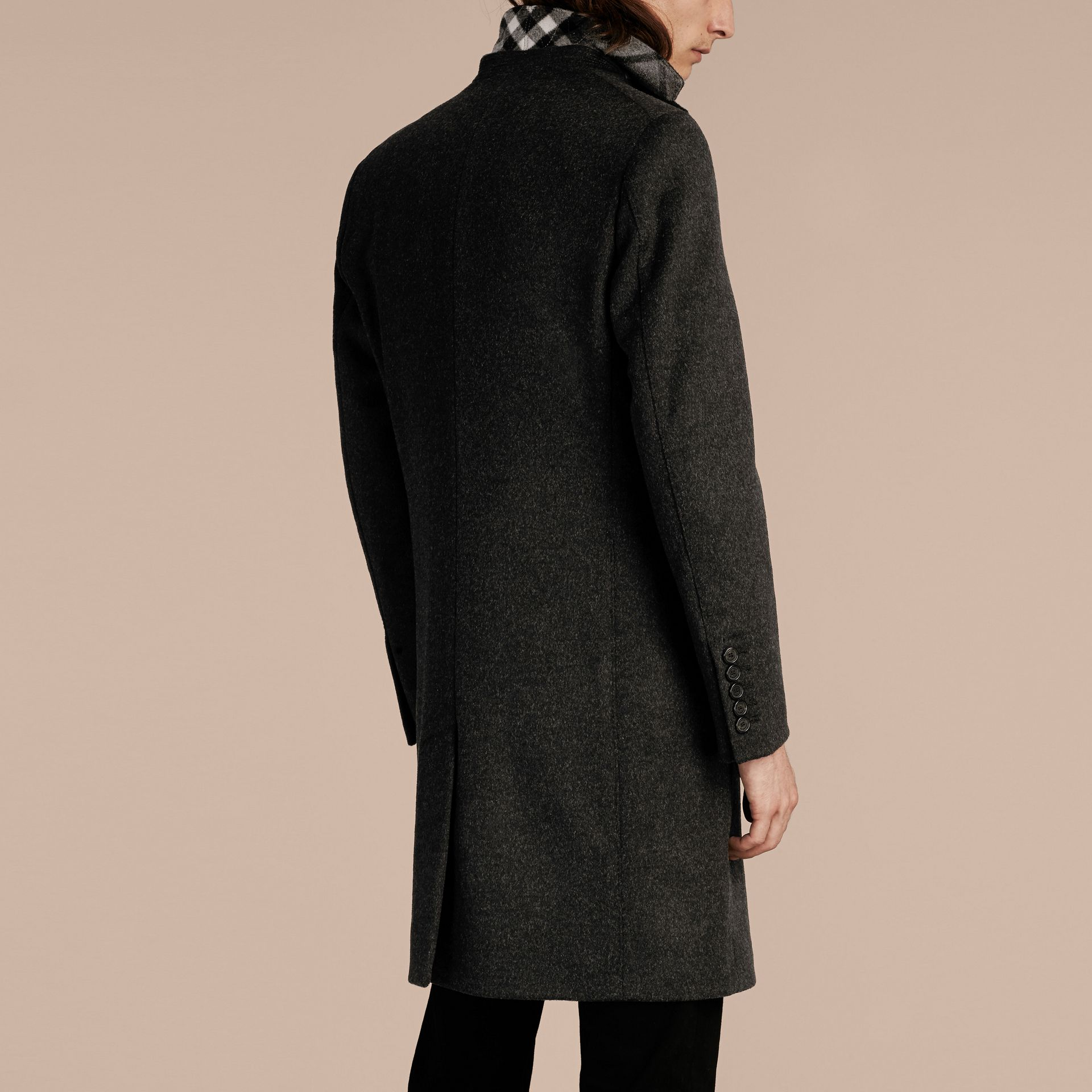 Dark grey melange Wool Cashmere Coat with Detachable Warmer - gallery image 3