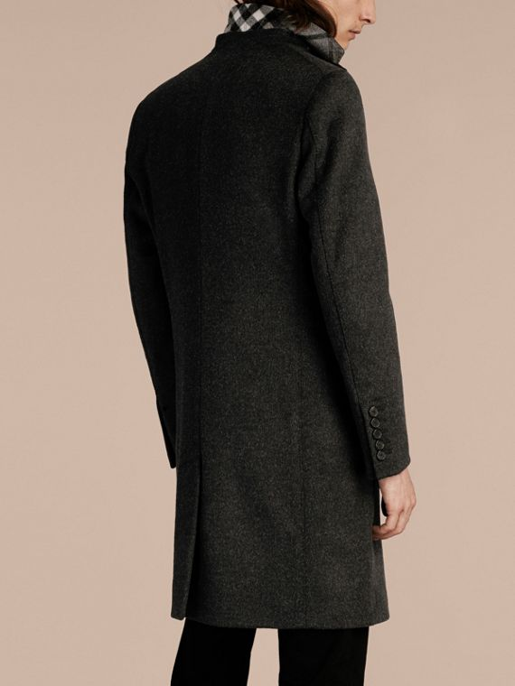 Dark grey melange Wool Cashmere Coat with Detachable Warmer - cell image 2