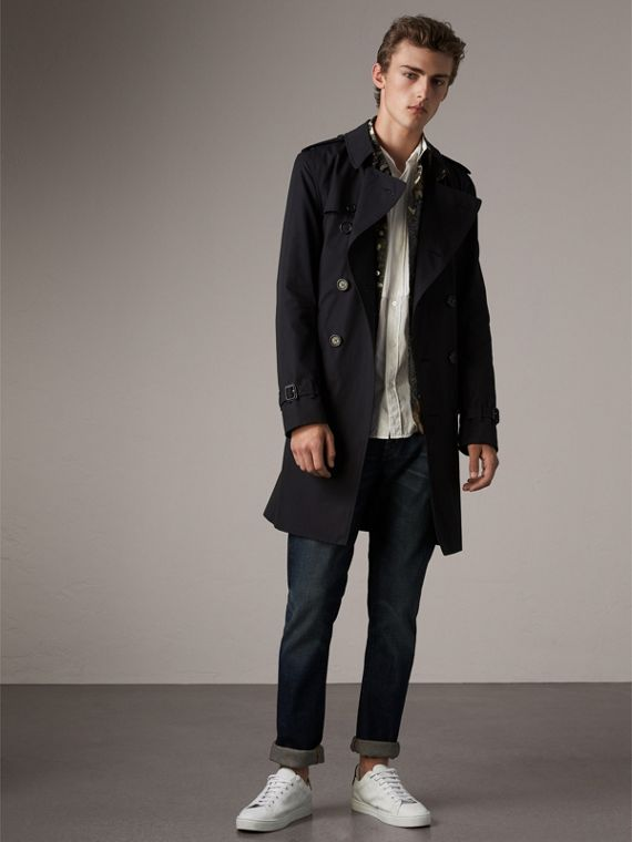 The Kensington - Trench coat longo (Azul Marinho)