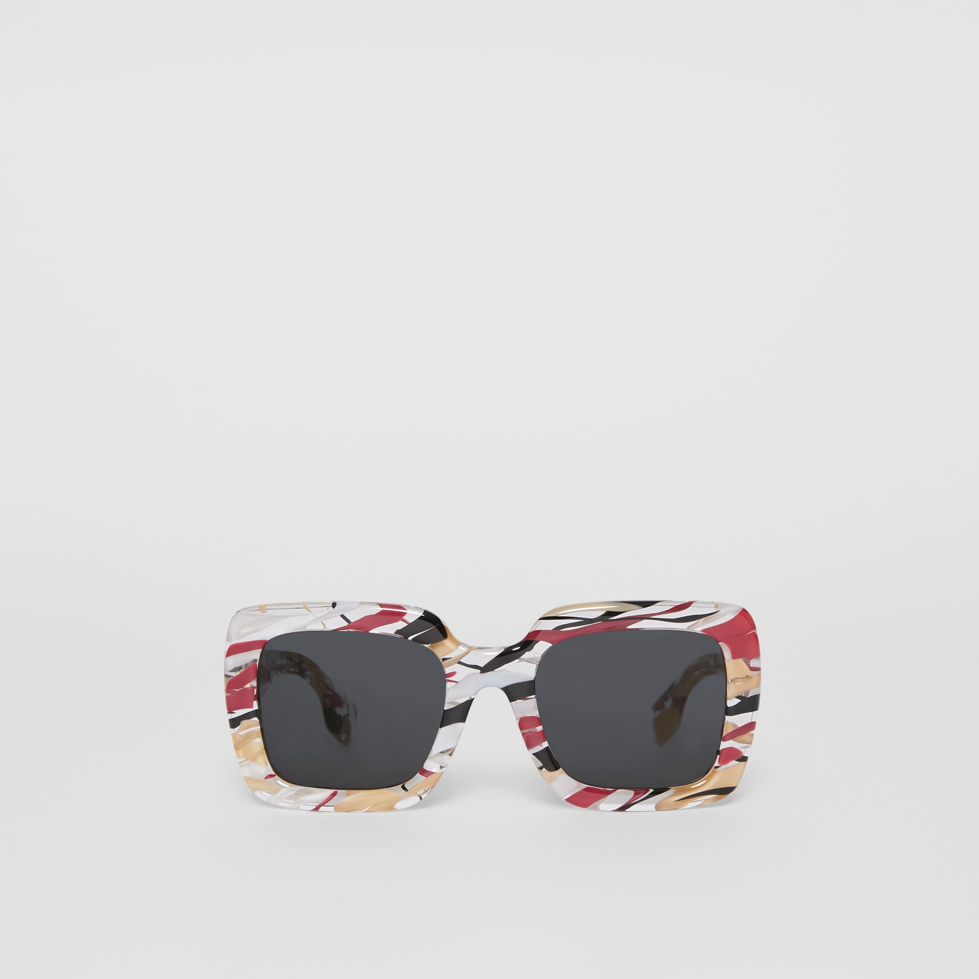 Marbled Check Oversized Square Frame Sunglasses in Lacquer Red - Women | Burberry Canada - gallery image 0
