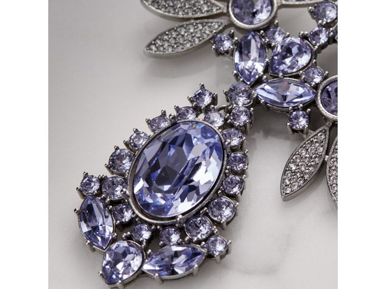Crystal Double-daisy Drop Earring and Stud Set in Lavender Blue - Women | Burberry - cell image 1