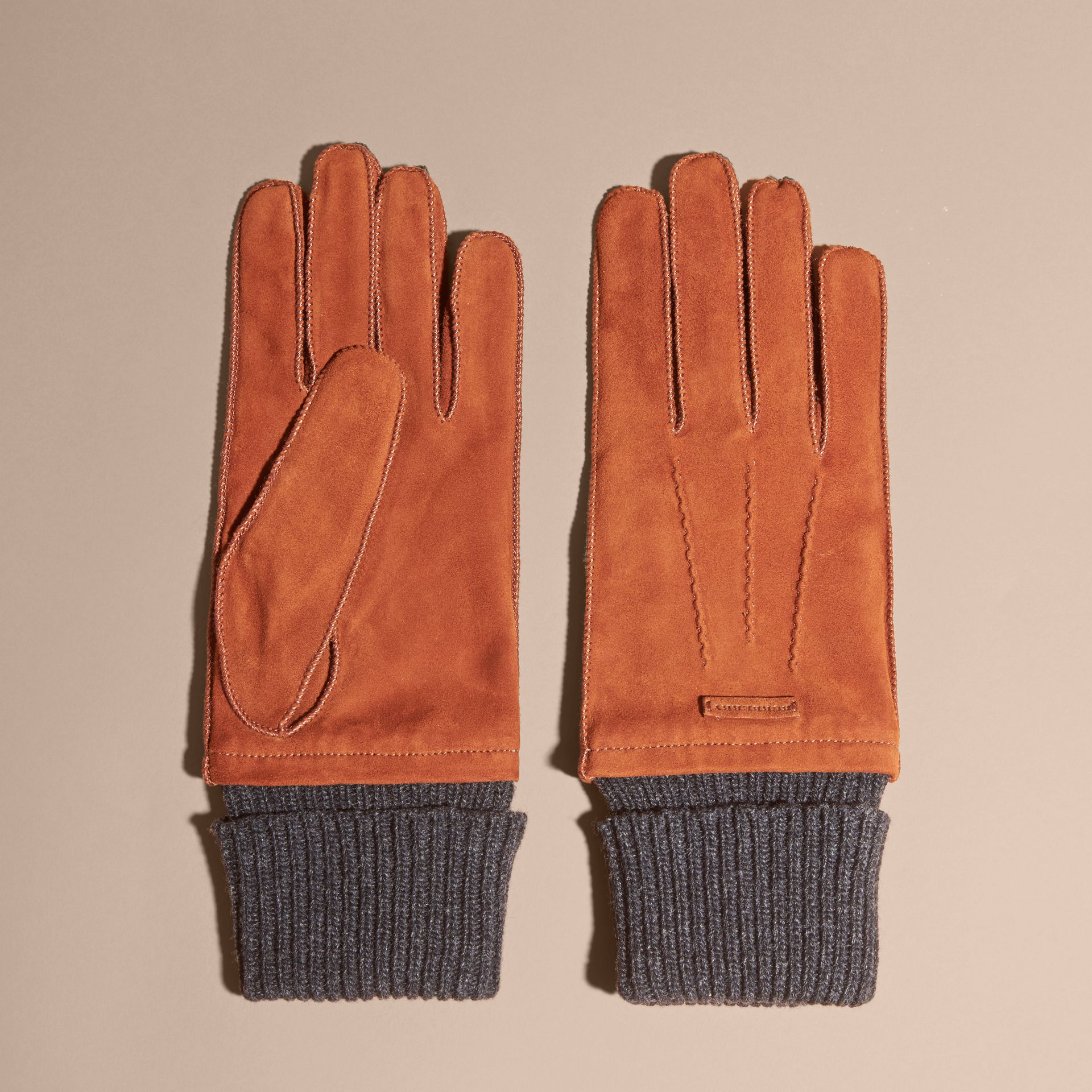 Wool Cashmere Ribbed Trim Suede Gloves in Chestnut Brown - gallery image 3