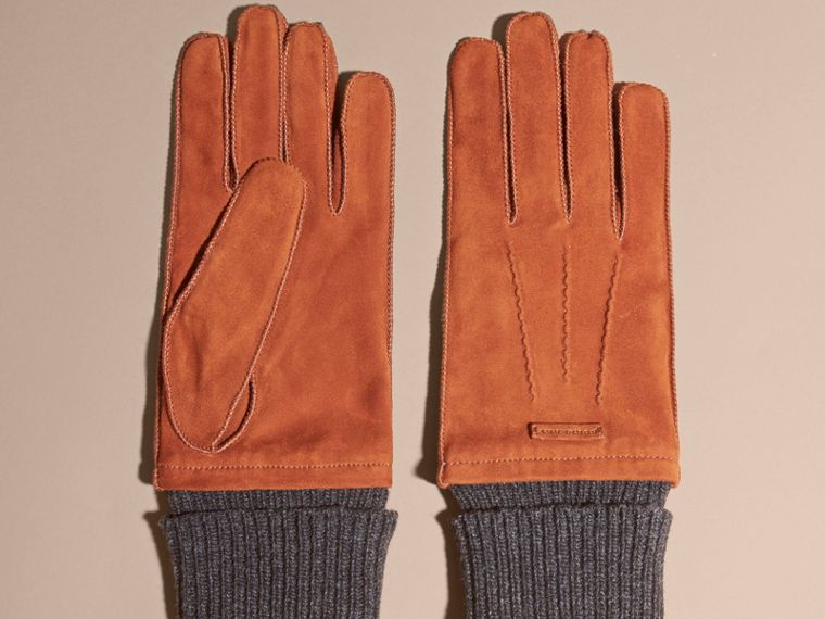Wool Cashmere Ribbed Trim Suede Gloves in Chestnut Brown - cell image 2