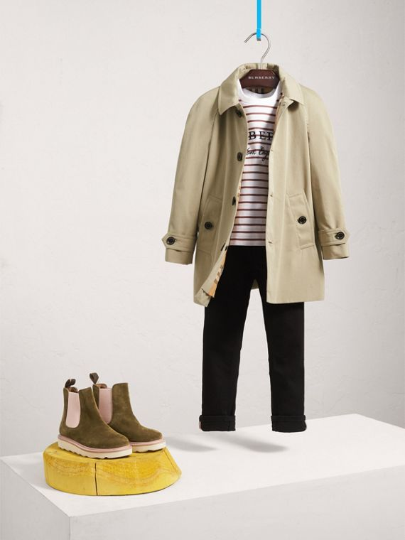 Tropical Gabardine Trench Coat in Sandstone - Girl | Burberry - cell image 2