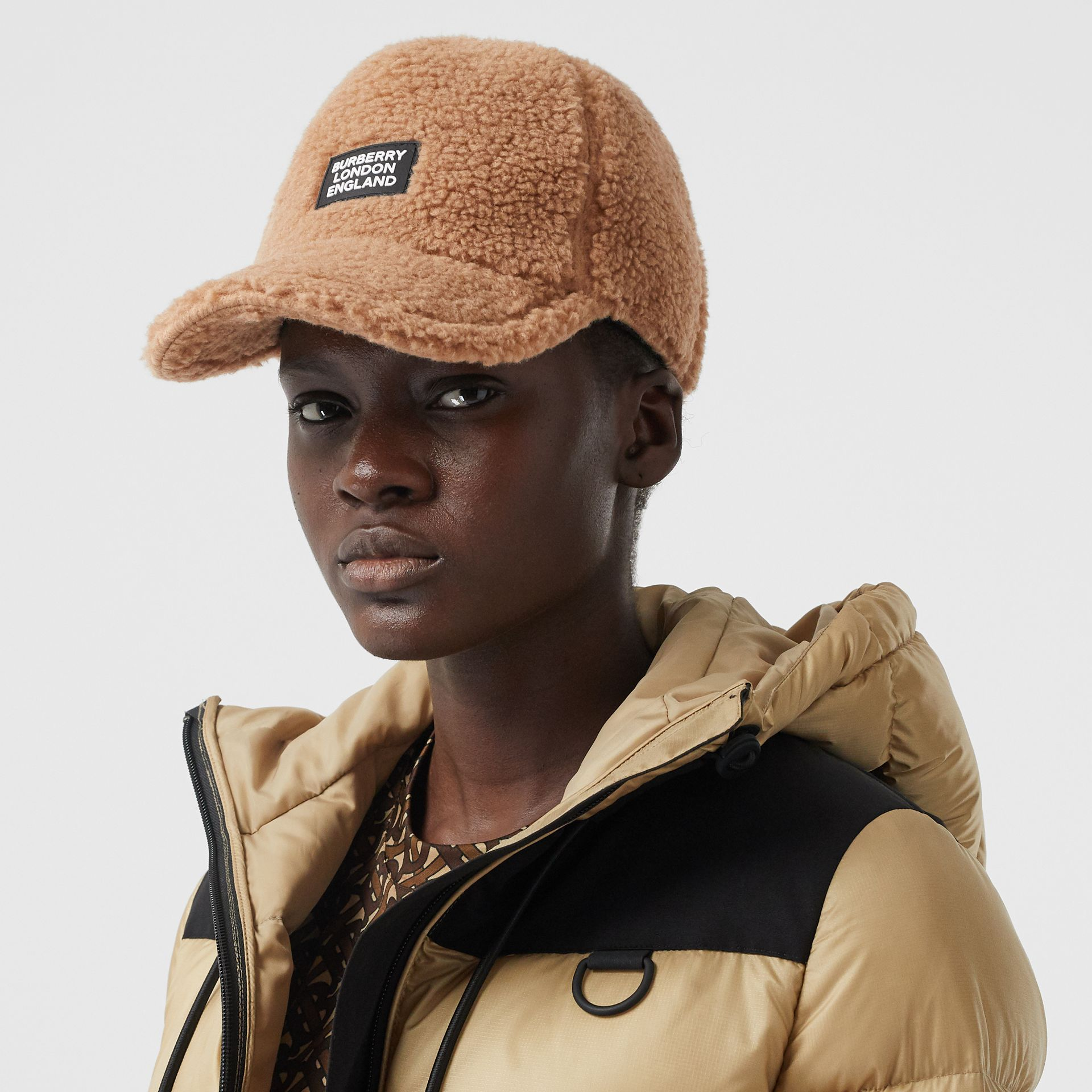 Logo Detail Faux Fur Baseball Cap in Camel | Burberry - gallery image 2