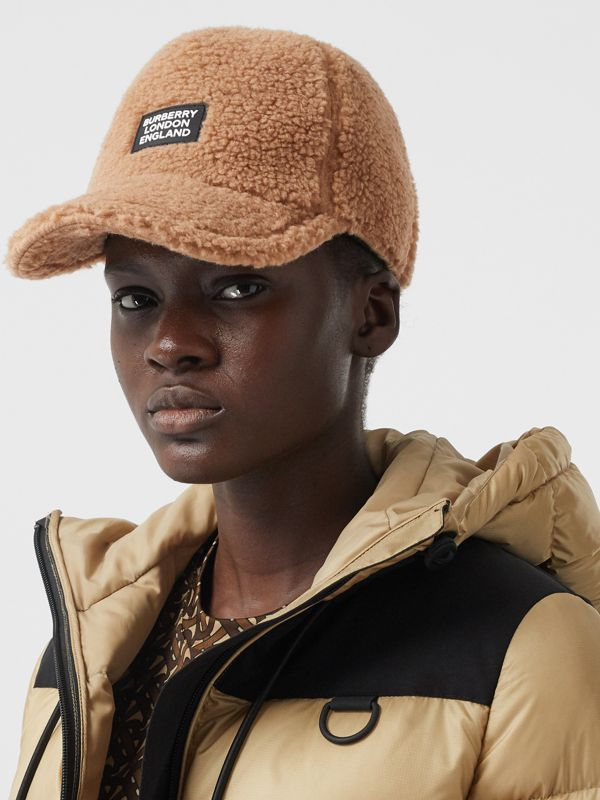 Logo Detail Faux Fur Baseball Cap in Camel | Burberry - cell image 2